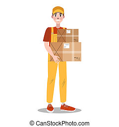 Fast delivery set. Courier in uniform with box