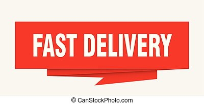 fast delivery sign. fast delivery paper origami speech...