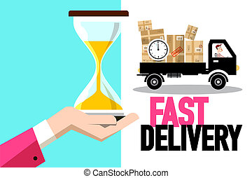 Fast Delivery Symbol with Truck and Hourglass in Human Hand