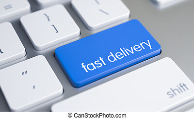 Fast Delivery - Text on the Blue Keyboard Button. 3D.