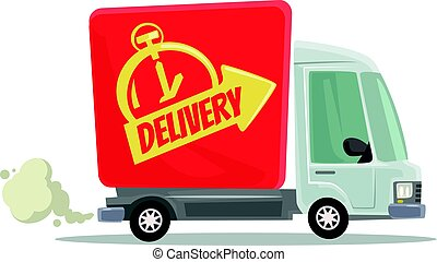 Fast delivery truck isolated red car moving. Side view. Vector flat cartoon illustration