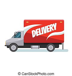 Fast delivery truck - Red delivery van with shadow. Product...