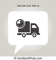 fast delivery truck with timer vector icon