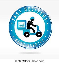 Fast delivery with motorcycle messenger over beige background