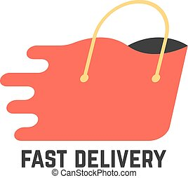 fast delivery with red shopping bag