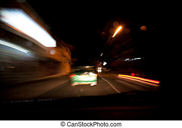 A fast driving abstract blur image