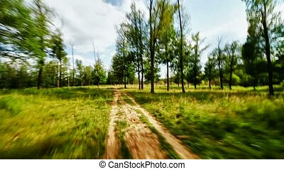 Fast driving on a dirt road through