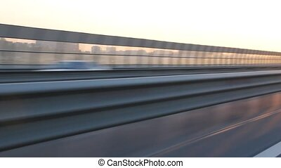 Fast driving on the bypass highway around St Petersburg