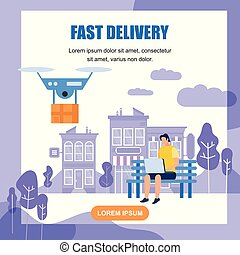 Fast Drone Delivery Square Banner with Copy Space.
