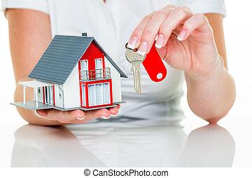 fast egendom agens, med, hus, och, nyckel