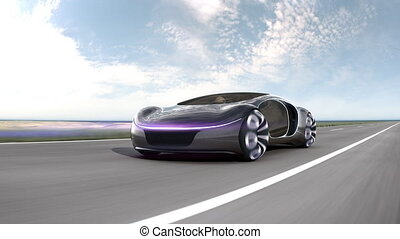 Fast electric car on highway. Concept of future car. 4k animation. . High quality 4k footage