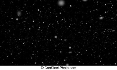 Fast falling snowflakes on a black background HD 1920x1080