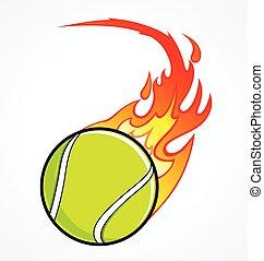 Fast flaming tennis ball vector