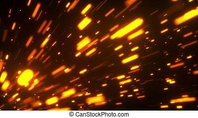 Fast flight of embers in the dark space, 3d rendering ...