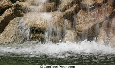 Fast flowing water in the fountains