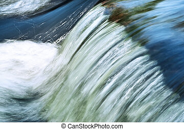 Fast flowing water in the mountain river, long exposure