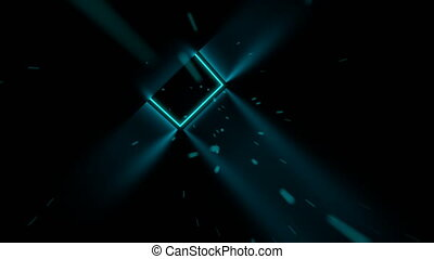 Fast flying through 3D cyan cube neon tunnel