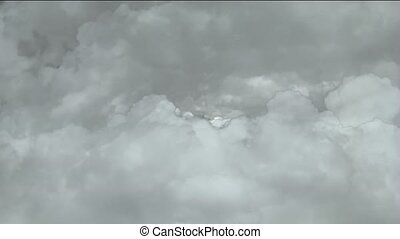 fast flying through storm clouds