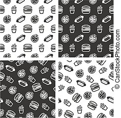 Fast Food Aligned & Random Seamless Pattern Set - This image...