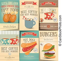 Fast Food and Coffee Posters Set - Burgers, Hot Dogs and...