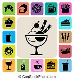 Fast food and dessert icon set.