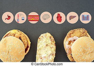 Fast food and infographics about the negative impact of fast food on the human body