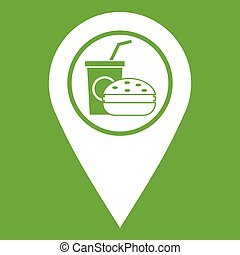 Fast food and restaurant map pointer icon green