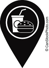 Fast food and restaurant map pointer icon