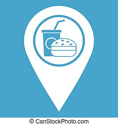 Fast food and restaurant map pointer icon white