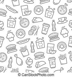 Fast food and seafood vector seamless pattern - Fast food...