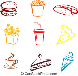 Fast food and snack symbols in cartoon style