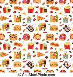 Fast food and streetfood seamless pattern