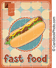 Fast food background with hot dog in retro style.