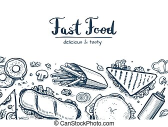 Fast food background with snack collection. Vector...