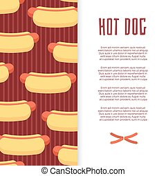Fast food banner design with hot dogs and sausage