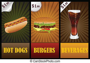 Fast Food Banner - easy to edit vector illustration of fast ...