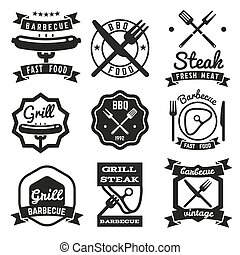 Fast food, BBQ, barbecue vintage vector emblems