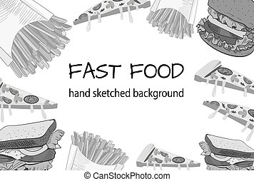 Fast food black and white handdrawn VECTOR background