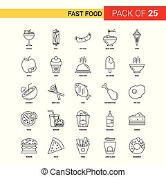 Fast food Black Line Icon - 25 Business Outline Icon Set