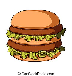Fast-food burger. Chicken with salad and rolls. Food for a snack on the go.Fastfood single icon in cartoon style bitmap,raster symbol stock illustration.