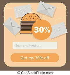 fast food burger coupon discount template flat design - email subscribe form