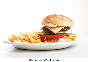 fast food burger - Hamburger with french fries on a dinner ...
