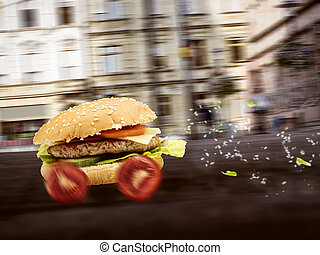 Fast food burger is delivered quickly - Burger drives down a...