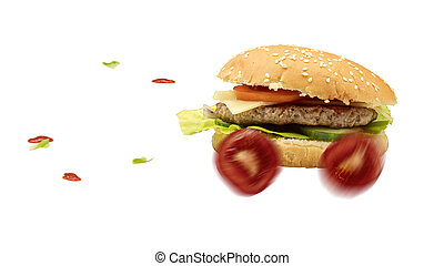 Fast food burger is delivered quickly