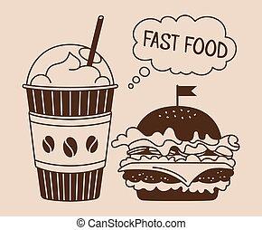 Fast food burger soda takeaway cartoon set vector
