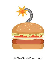 Fast food Burger with bomb cord.