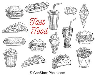Fast food burgers, sandwiches and snacks sketch