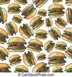 Fast food burgers seamless pattern