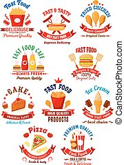 Fast food cafe, coffee house and bakery shop icons