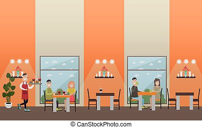 Fast food cafe concept vector flat illustration